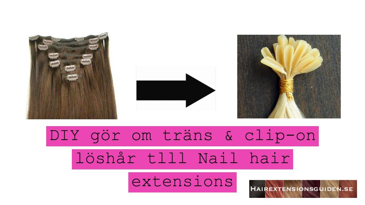 göra om träns och clip-on löshår till nail hair extensions